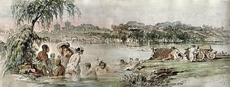 Colentina, Bucharest - Bathers in the Colentina river, 1869 watercolor by Amedeo Preziosi