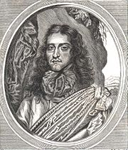 The picture consists of Rupert's head and shoulders, with long flowing hair, looking towards the viewer. He is wearing a large sash across his chest and throat. In this woodcut, he appears tired and world weary.