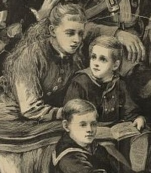 Albert, Duke of Schleswig-Holstein - Prince Albert (upper right) in around 1877 with his cousins Princess Charlotte and Prince Ernest