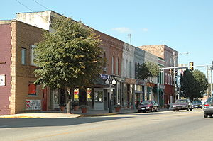Princeton, Illinois - View of north historic Main Street district in Princeton, Illinois