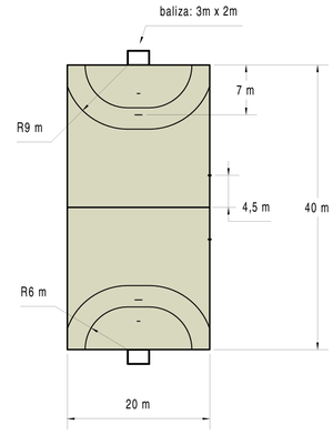 Size and line pattern of a handball field