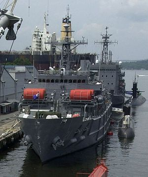 Cheonghaejin-class submarine rescue ship - Cheonghaejin from the bow