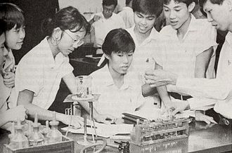 Raffles Junior College - Raffles Junior college chemistry lab students in the early 1990s.
