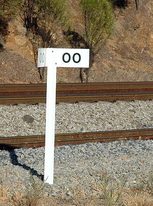 "Branch line - The ""0-kilometre peg"" marks the start of a branch line in Western Australia"