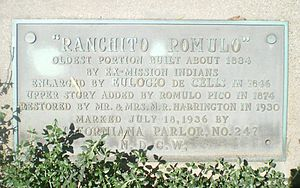 Rómulo Pico Adobe - California Historical Marker at the Pico Adobe