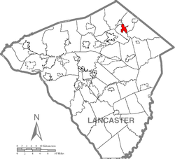 Reamstown's location in Lancaster County