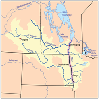A map showing North Dakota and the river that runs through it to Canada. Several lakes can be seen in Canada, and the edges of Montana, South Dakota, and Minnesota are shown.