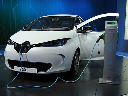 Renault Zoe, a pure electric car with a 210 km to 230 km range. Renault Zoe on MIAS 2012.JPG