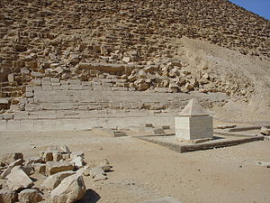 Pyramidion - The renovated pyramidion of the Red Pyramid at Dashur, on display beside the pyramid.