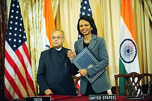 India–United States Civil Nuclear Agreement - Secretary Rice and Indian Minister for External Affairs Pranab Mukherjee after signing the 123 agreement in Washington on October 10, 2008