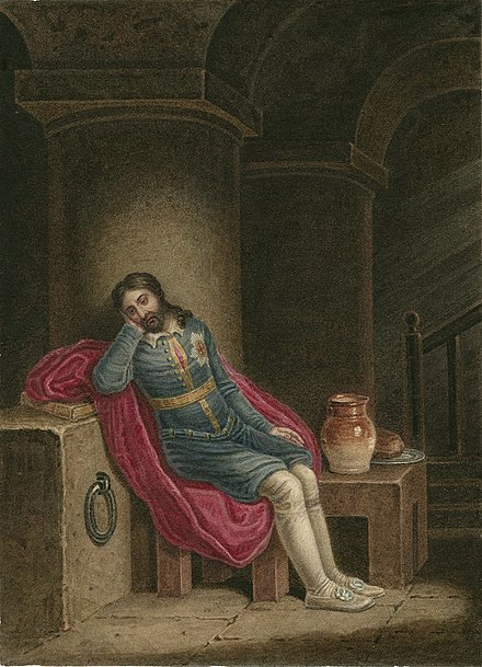 A watercolor of Richard II in prison at Pomfret Castle.J. Coghlan, early nineteenth century Richard II in Prison.jpg
