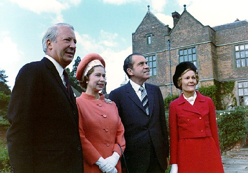 Richard and Pat Nixon with Queen Elizabeth II