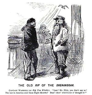 James Iredell Waddell - Editorial cartoon satirizing James Waddell still engaging in combat after the American Civil War was considered over