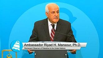 Palestinian Ambassador to the United Nations - Image: Riyad Mansour (City Club of Cleveland)