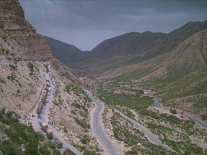 English: Road Block due to landslide at Girdu ...