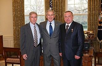 Vladimir Shamanov - Controversial image of Robert H. Foglesong, U.S. President George W. Bush, and Vladimir Shamanov.
