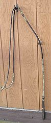 A set of romal reins, featuring a quirt at the end of the romal