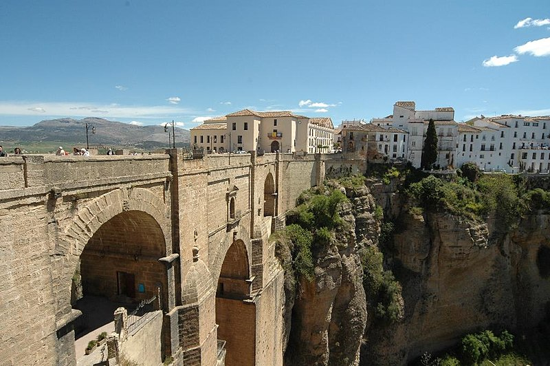 View of the famous bridge over the gorge at Ronda, Spain