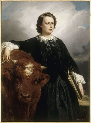 Rosa Bonheur - Edouard Louis Dubufe, Portrait of Rosa Bonheur 1857. Symbolic of her work as an Animalière, the artist is depicted with a bull.