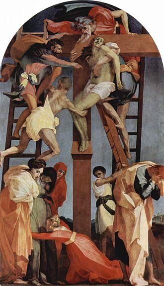 Rosso Fiorentino - Rosso Fiorentino. Deposition. 1521. Oil on wood. 375 × 196 cm. Pinacoteca Comunale di Volterra, Italy.