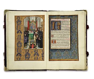 Rothschild Prayerbook - Opening from the Rothschild Prayerbook; Requiem Mass left. The borders depict rich silks illusionistically.