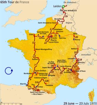 1978 Tour de France - Route of the 1978 Tour de France