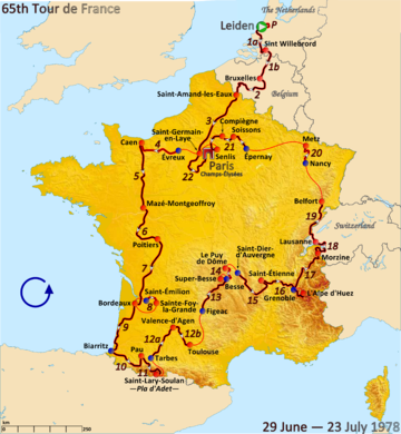 Route of the 1978 Tour de France