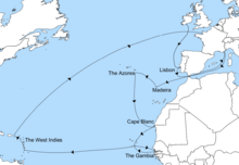 A blue and white map showing Rupert's journey from Ireland, across the Atlantic into the Mediterranean, then down the African coastline, across to the West Indies and back to France.