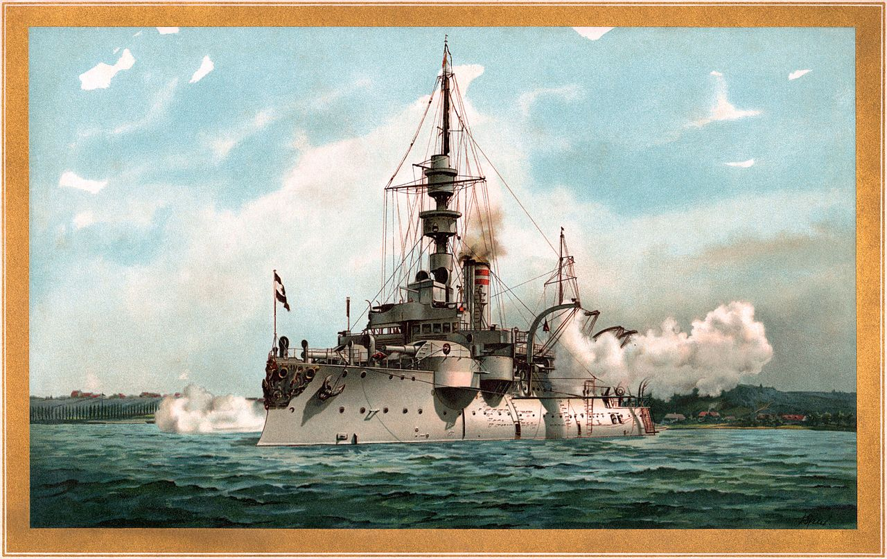 This portrait of SMS Odin firing a salute is a new featured picture