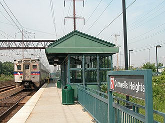 Cornwells Heights station - A SEPTA train at Cornwells Heights station in 2003