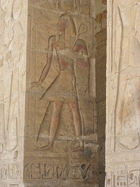 Seti I raffigurato su un pilastro del suo tempio funerario ad Abido