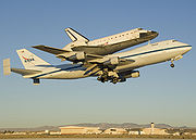 STS-126 Endeavour atop carrier aircraft