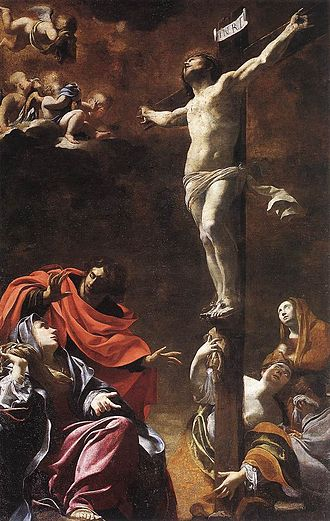 Comparison of Buddhism and Christianity - The Crucifixion (1622) by Simon Vouet; Church of Jesus, Genoa. The crucifixion of Jesus is at the center of Christian theology.
