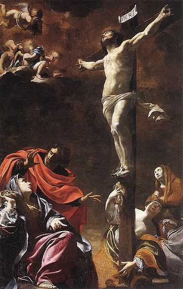 The Crucifixion (1622) by Simon Vouet; Church of Jesus, Genoa SVouet.jpg