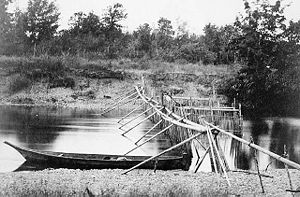 Fishing weir - Salmon weir at Quamichan Village on the Cowichan River, Vancouver Island, ca 1866