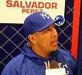 Salvador Perez talks to reporters on -WSMediaDay. (22267334943).jpg