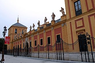 Palace of San Telmo - Gallery of illustrious Sevillians, on the façade facing Calle Palos de la Frontera.