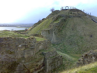 Sandal Castle - A view of the Motte and Barbican at Sandal Castle