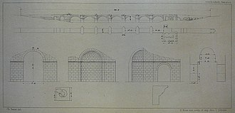 Sangarius Bridge - Sketch of the surviving sections of the bridge, including the now vanished triumphal arch in the western end, and the apse in the eastern end (1838)