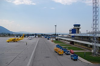Sarajevo International Airport - Apron view and control tower