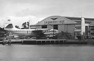 Saunders-Roe - Saro works at East Cowes in September 1954 with stored Princess G-ALUN