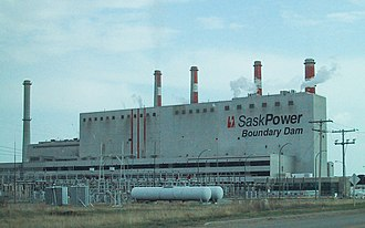 Estevan - SaskPower Boundary Dam Power Station one of two coal fired generating stations in Estevan.