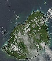 Satellite image of Mauritius, February 2003, with traced outline of island.