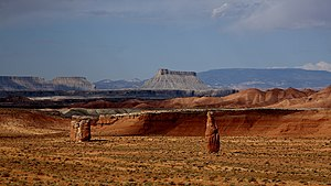 Wayne County, Utah - View north of Hanksville from Route 24. Factory Butte in background.
