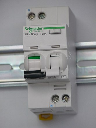 Residual-current device - An example of a rail-mounted RCBO
