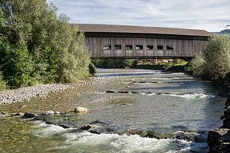 Signau - Wooden bridge over the Emme river at Schüpbach