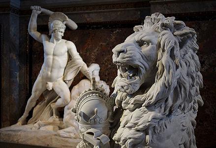 Sculptures at staircase Kunsthistorisches Museum Vienna