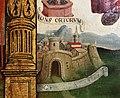 Scuola ligure, immacolata concezion e santi, xvi secolo, dalla ss. annunziata a savona, 07 maria tra attributi mariani 05 castello.jpg