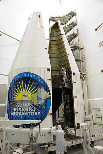 Payload fairing - Image: Second half of the payload fairing moved around SDO