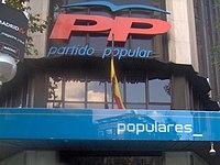 Balcón de la sede del Partido Popular, en Madrid